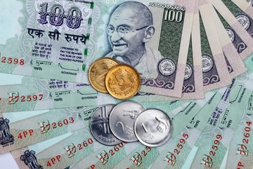 Indian Currency Rupee Notes and Coins