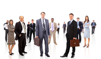 business team formed of young businessmen standing over