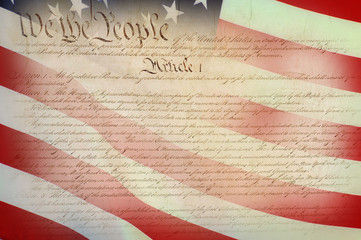 American Constitution with Flag