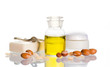 Argan oil with cosmetic products and fruits