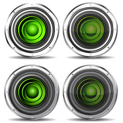 set of green quality speaker isolated on white