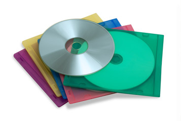 DVD in colourful cases isolated on white