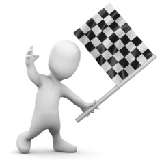 3d Little man waves the checkered flag