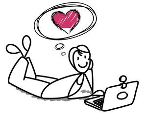 Femme cherchant l'amour sur le net