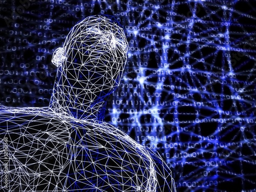 3d futuristic man wire frame in binary network