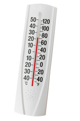 Outdoor thermometer on the white background