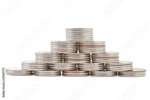 Coin pyramid on white background