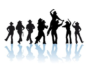 country dancers silhouette