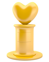 Golden heart on pedestal isolated on white background