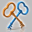 Blue and orange keys