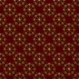 Round Gold and Maroon Damask Seamless Pattern