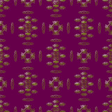 Golden and Purple Damask Seamless Pattern