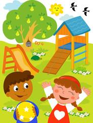 Bambino nero e bambina caucasica felici al parco