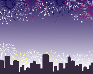 fireworks background city