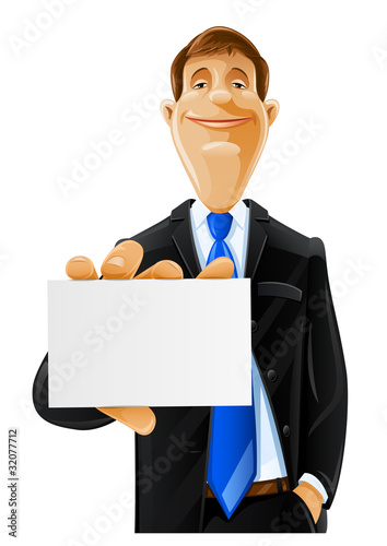 handsome man with card vector