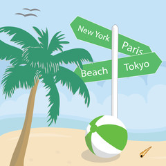 Signposts on a tropical beach