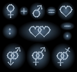 Gender symbols, heart shapes, mathematical signs