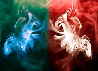 variegated puffs of smoke