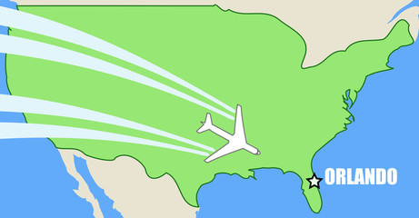 Orlando - air travel map with passenger aircraft