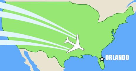 Orlando - air travel map with passenger aircraft