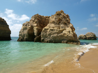 Caves and colourful rock formations on the Algarve coast
