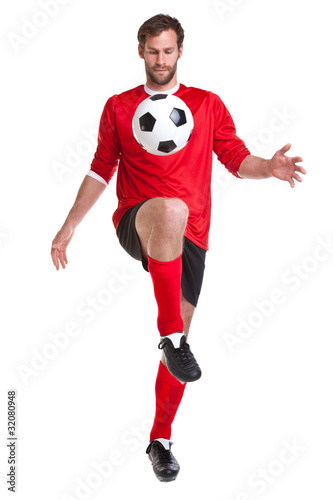 Footballer cut out on white