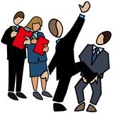 Symbol - Judges assessing team building activity poster