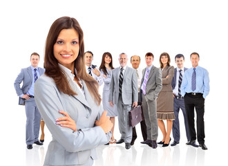 business woman leading her team isolated over a white