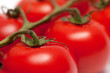 Closeup shot of a stem of fresh ripe cherry tomatoes isolated on