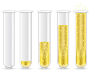 golden liquid with bubble in test tubes