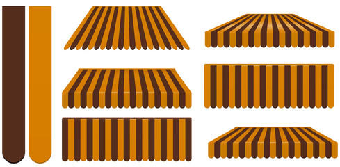 brown and orange awnings set isolated on white
