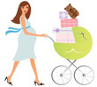 Young attractive pregnant woman shopping for baby stuff