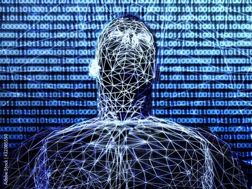 3d futuristic man wire frame in binary network