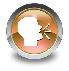 "Orange Glossy Pictogram ""Talking Head / Forum / Discussion"""