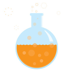 Vector chemistry beaker with bubbling formula. No gradients.