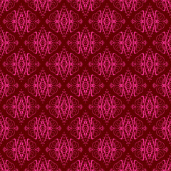 Hot Pink and Maroon Damask Seamless Pattern