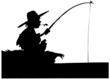 Silhouette of boy fishing
