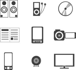 digital media electronics equipment icons