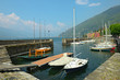 Saling boats moored in Bellano harbour on Lake Como, Italy