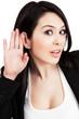 Listen concept - one curious woman