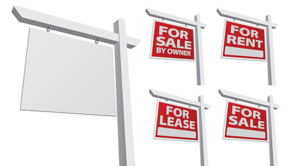 Set of Various Vector Real Estate Signs