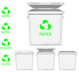 set of vector white recycle garbage