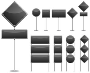 set of black blank road sign isolated on white background