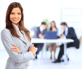 portrait of beautiful businesswoman in office with