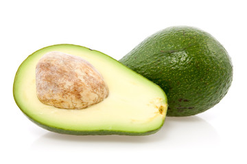 Ripe avocado isolated on a white background.