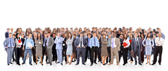 big group of business people. Isolated over white