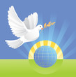 dove of peace near globe