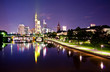 Night view on the Frankfurt skyline with reflections