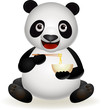 panda eating noodle