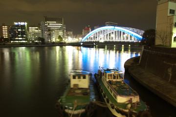 隅田川の永代橋 夜景